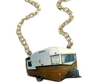 Retro Camper, Camper Van, Cool, Funny, Vintage style, Funky, 60's - 70's, Funky Collar Necklace, Road Trip, Traveler Gift, Car necklace