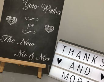 Wedding guestbook sign. Please leave your wishes for the new mr & mrs