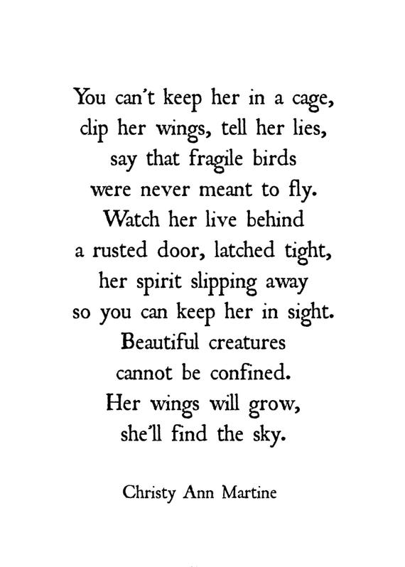 Domestic Violence Print - Emotional Abuse Survivor - Freedom Quotes - She'll Find the Sky Poem - Hope Courage Quote - Christy Ann Martine
