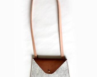 Grey Felt & Leather Crossbody Bag