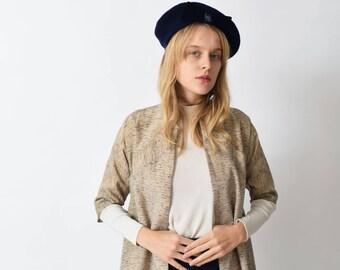 Navy Wool Beret with Velvet Bow Vintage Parisian Cap