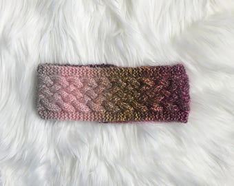 Sunset Multi Color Cabled Knit Winter Ear Band