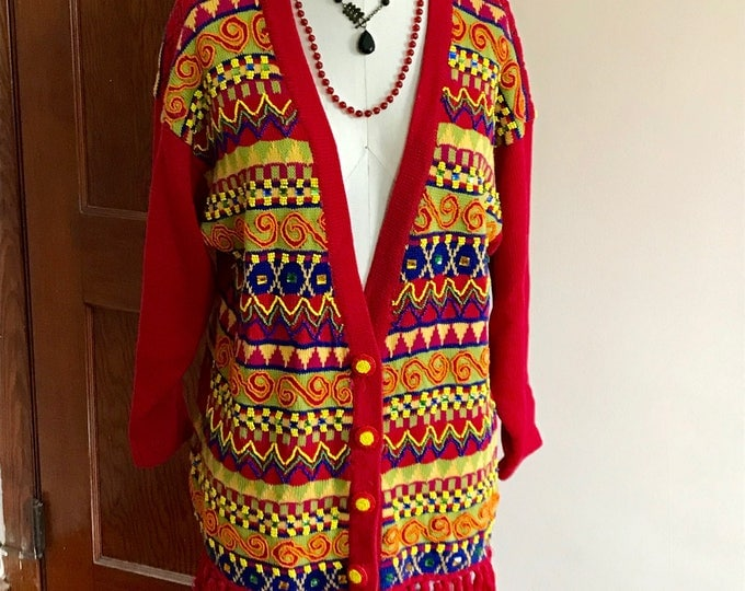 Featured listing image: 90s HipHop Sweater, Cardigan, Beaded, Rhinestones, Fringe, Cedars, Size M, Red, Yellow, Ethnic, Tribal, World