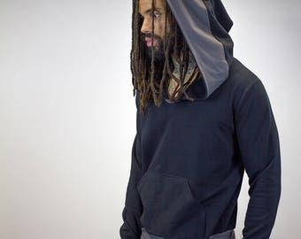 Pullover Doomlord Hooded Sweatshirt / Grey Trim Detail, Men's