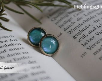 Cabbochon earrings with silver-coloured version 10 mm