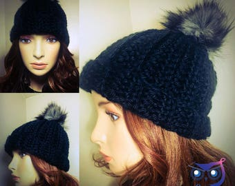 Knit Look Winter Hat, Crochet Hat, Handmade Beanie, Pompom