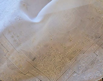 Vintage french handkerchief, hand made soft embroideries, 1950s, made in France