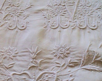 Antique big and georgous french AM monogram, linen, 1870S