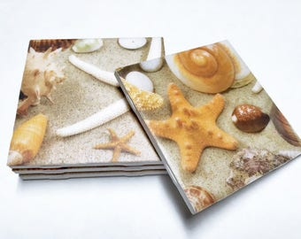 Seashell Coasters - Seashells Home Decor - Seashell Art - Drink Coasters - Tile Coasters - Ceramic Coasters - Table Coasters On Sale