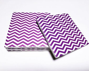 Purple Chevron Coasters - Purple Home Decor - Chevron Decor - Drink Coasters - Tile Coasters - Ceramic Coasters - Table Coasters On Sale