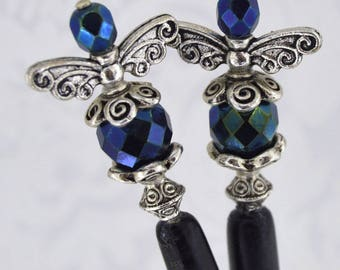 Fae Dreams - Antique Silver, Black, and Teal, Green, Blue Fairy Hairsticks - FDHS - Free US Shipping