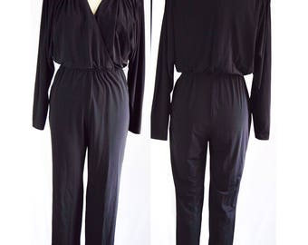 Vintage Disco 70s Embellished Party Jumpsuit Romper Party Playsuit Rimini Saks Fifth Avenue Black Medium