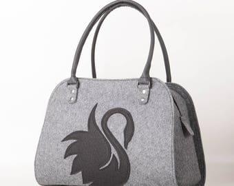 Swan handbag Felt bird purse Swan bag Swan purse Felt bag Grey handbag Shoulder bag Felt shoulder purse Black swan bag Felted purse