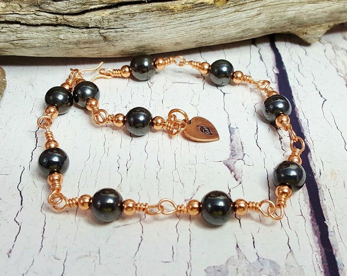 Handmade Healing Copper Bracelet ~ Anxiety & Stress Relief ~ 7th, 9th, 22nd Anniversary Gift, Everyday Gemstone Chakra Meditation Bracelet
