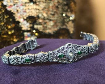 Victorian Art Deco Filigree Emerald Crystal Bracelet Edwardian Great Gatsby Phillips Costume Jewelry Gothic Burlesque Flapper Formal 20s 30s