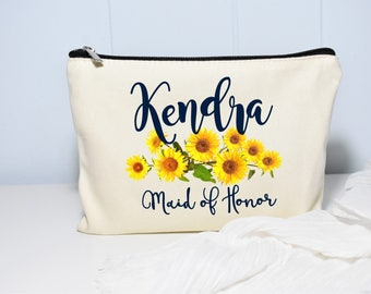 Maid of Honor Makeup Bag, Sunflower Wedding, Maid of Honor Gift, Makeup Bag, Personalized Gift, Floral Bag, Sunflower Decor, Monogram Bag