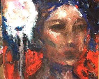 Modern Art Abstract Impressionist original Oil painting beautiful woman