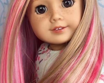 """Custom American Girl Doll """"Vivian"""" Mia, EDD Cherry Blossom wig ~ Free U.S. shipping"""