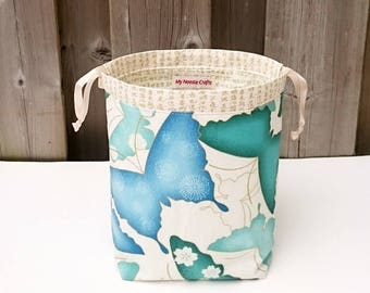 Sock Knitting Bag in Japanese Butterfly Print, two at a time knitting, Knitting Tote, Drawstring Bag, Project Bag - Small Socksack