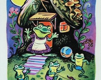 Frog mother and Froggy - Illustrator K. Zotov - Vintage Soviet Postcard, 1969. Forest house Mushrooms Moon Beetle Art Print