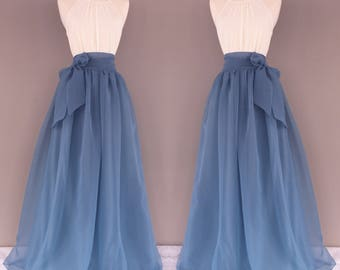 Bluestone Chiffon Skirt, Bridesmaid skirt, floor length, tea length, knee length empire