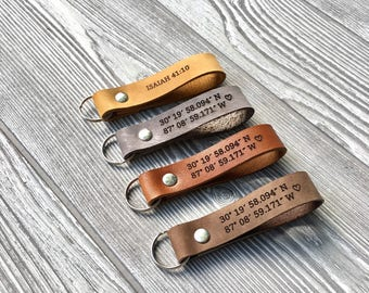 Personalized leather keychain, Custom Keychain, Leather Gift, Unique Gift, Lanyard, Leather keyring, mens gift, valentines gift, wife gift