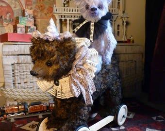 Handmade Teddy Bear with wheels, unique model