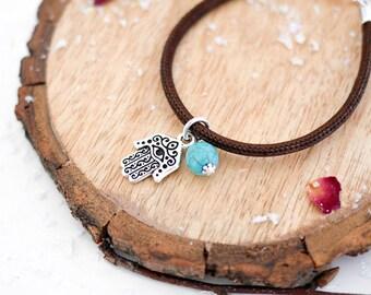 Hamsa Vegan Bracelet • Silver charm jewellery, fatima hand, morocco, eye, protection, turquoise, blue, boho, Valentines, jewelry, girlfriend