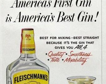 1953 Fleischmann's Distilled Dry Gin Ad - American Eagle Logo - Vintage 1950s Alcohol Ads
