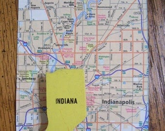 Indiana Pin Vintage Map Puzzle Brooch Yellow