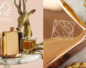 Rose Gold Personalized Bridesmaid Flask - Engraved Rose Gold Flask - Personalized Bridesmaid Flask -  Engraved Flask