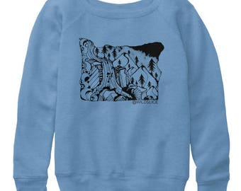 Oregon State Hand Drawn design Women's slouchy sweatshirts All sizes available in 3 colors