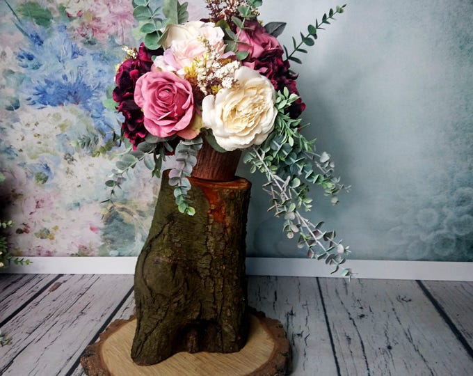 Wedding floral arrangement vintage fall wedding burgundy blush pink copper roses eucalyptus wild flowing for pedestal aisle decor romatic