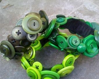 Green Button Bracelets/Many Green Bracelets/Green Bracelets/Button Bracelets/Light Green, Medium Green, Dark Green Bracelets