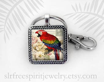 Red Parrot Key Chain, Bird Key Chain, Tropical Bird Pendant, Vintage Postcard, Glass Cabochon Key Chain, Gift for women, Gift under ten