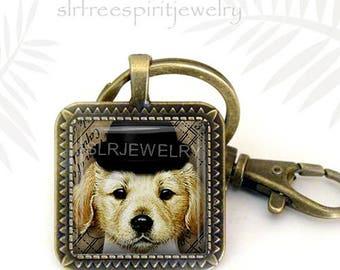 Yellow Lab Puppy Key Chain, Labrador Retriever Key Chain, Puppy With Hat Key Ring, Photo image pendant, Dog Jewelry, Pet Jewelry