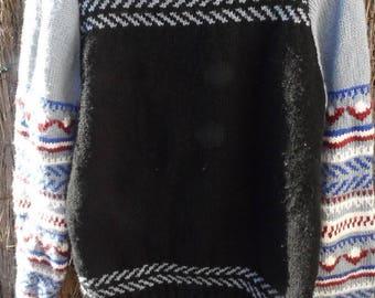 Handmade jacquard Turtleneck Sweater, raglan sleeves