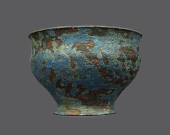 1966 Ceramic Vase Art Pottery Pot Blue Brown Rust Round MCM MOD Modern Art Stoneware Mid Century