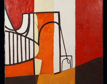 1960s Haycraft Abstract Oil Painting Mid Century MCM MOD Abstraction Art