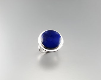 Natural Lapis Lazuli ring with Sterling silver - gift idea - round statement cut natural stone - AAA grade Lapis - afghan Lapis - natural