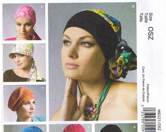 Misses Womens Headbands Scarf Head Wraps Hat Chemo Fashion Accessories McCalls 6521 Sewing Pattern