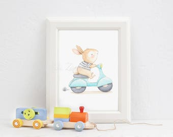 "Children's Art ""BUNNY in VESPA"" Nursery Wall Art, Nursery Illustration."