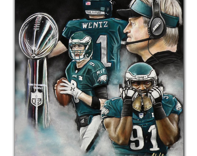 Philadelphia Eagles - Super Bowl LII - Artwork -Nick Foles MVP - Super Bowl - Fletcher Cox - Carson Wentz - Man Cave - Philadelphia