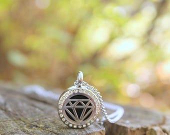 Mini Diamond Stainless Steel Diffuser Necklace-Oils Locket-Aromatherapy-Diamond Rank-Diamond Diffuser-Diffuser Locket