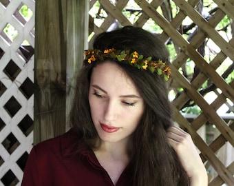 Fall Flower Crown, flower crown, autumn flower crown, rustic flower crown, grass flower crown, yellow crown, sunflower crown, woodland crown