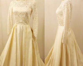 60s Vintage Ivory Satin Lace Wedding Dress Evening Gown Size 10