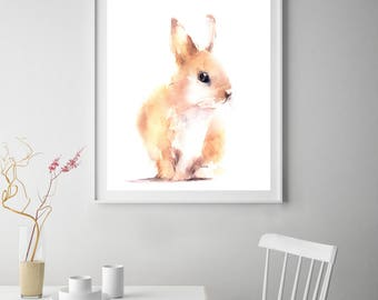 Bunny art print, rabbit print, bunny watercolor painting print, bunny wall art print, farm animals home decor