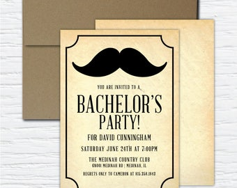 Mustache Bachelor Party, Customizable Digital or Printed Invitation