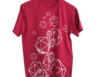 D20 Dice Print T-Shirt. White or silver print.