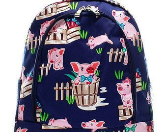 Pig Print Monogrammed School Backpack Navy Blue Trim